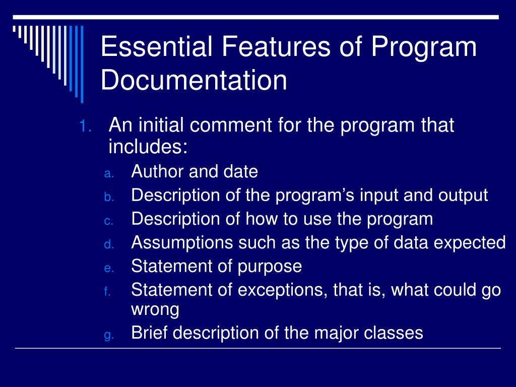 Essential Features of Program Documentation