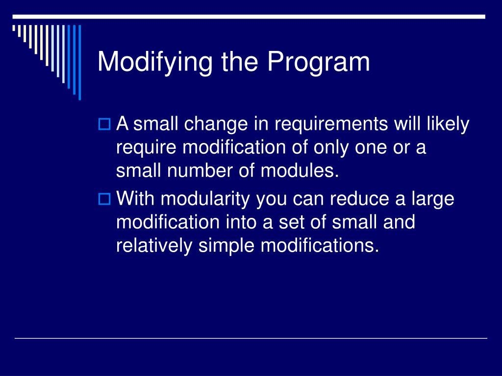 Modifying the Program