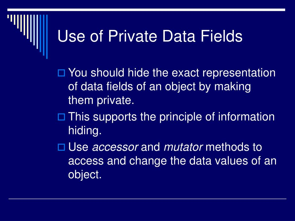 Use of Private Data Fields