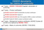 casco documents for claims of conformity