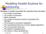 modelling parallel routines for autotuning