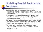 modelling parallel routines for autotuning10