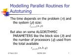 modelling parallel routines for autotuning7