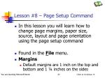 lesson 8 page setup command