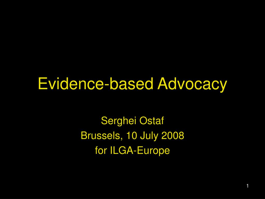 evidence based advocacy l.