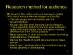 research method for audience