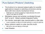pure optical photonic switching