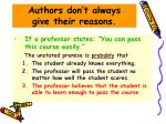 authors don t always give their reasons