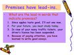 premises have lead ins
