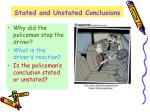 stated and unstated conclusions