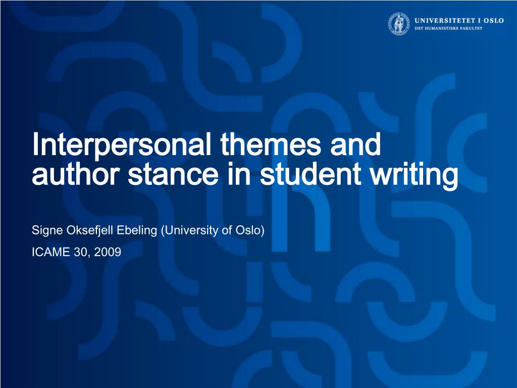 interpersonal themes and author stance in student writing l.