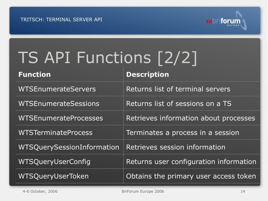 PPT - Terminal Server API PowerPoint Presentation - ID:52132