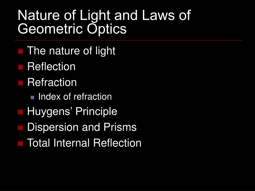 nature of light and laws of geometric optics l.