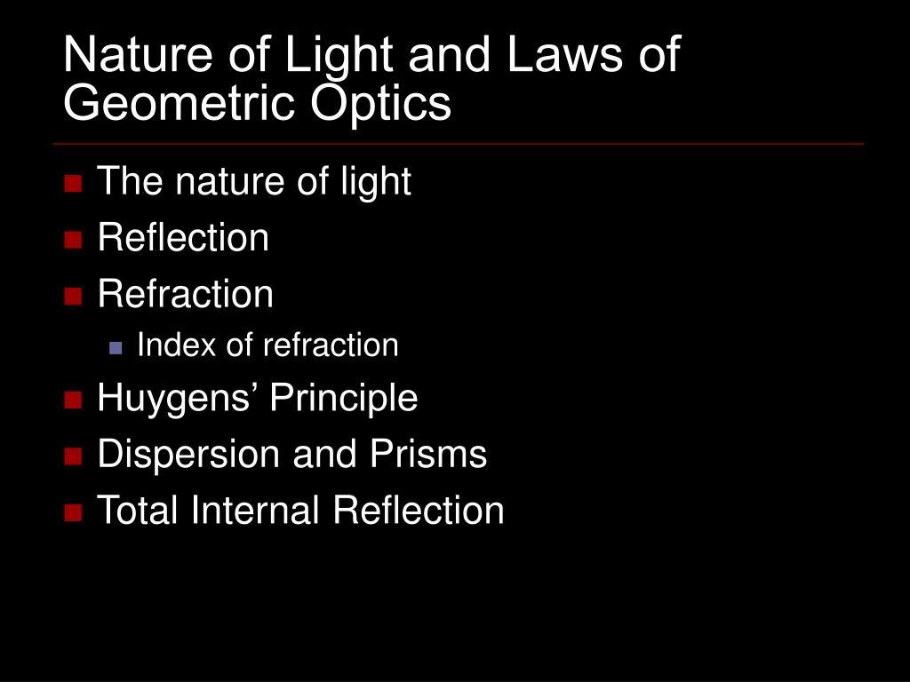 nature of light and laws of geometric optics l.