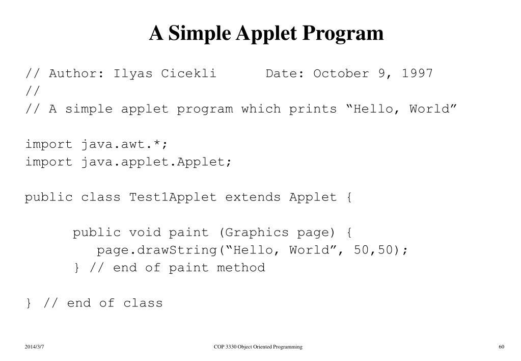 A Simple Applet Program