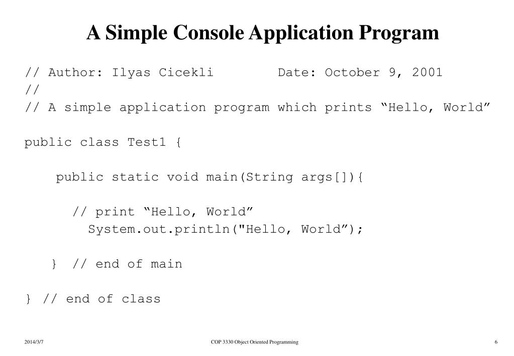 A Simple Console Application Program