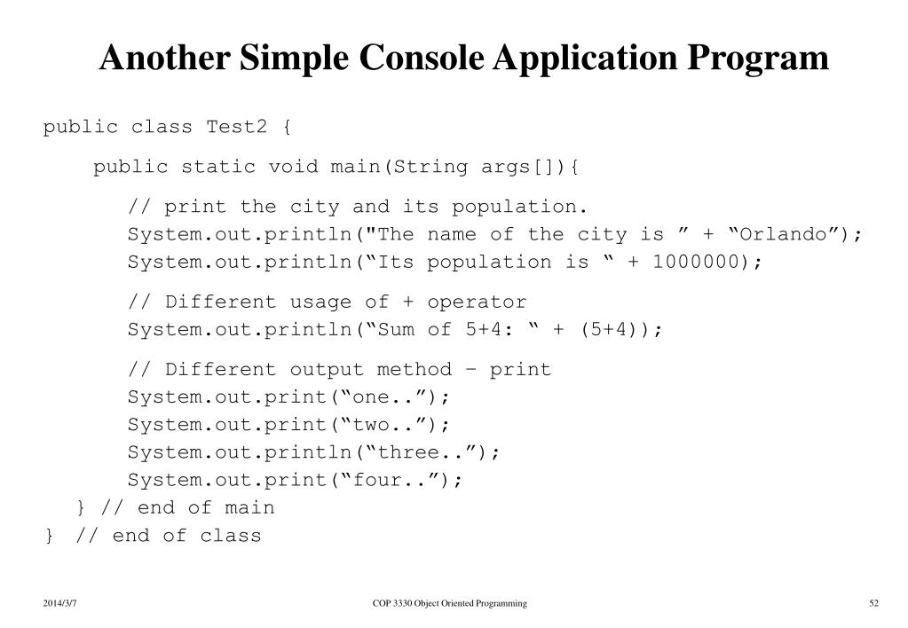 Another Simple Console Application Program