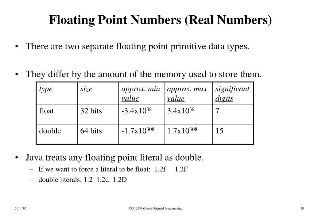 Floating Point Numbers (Real Numbers)