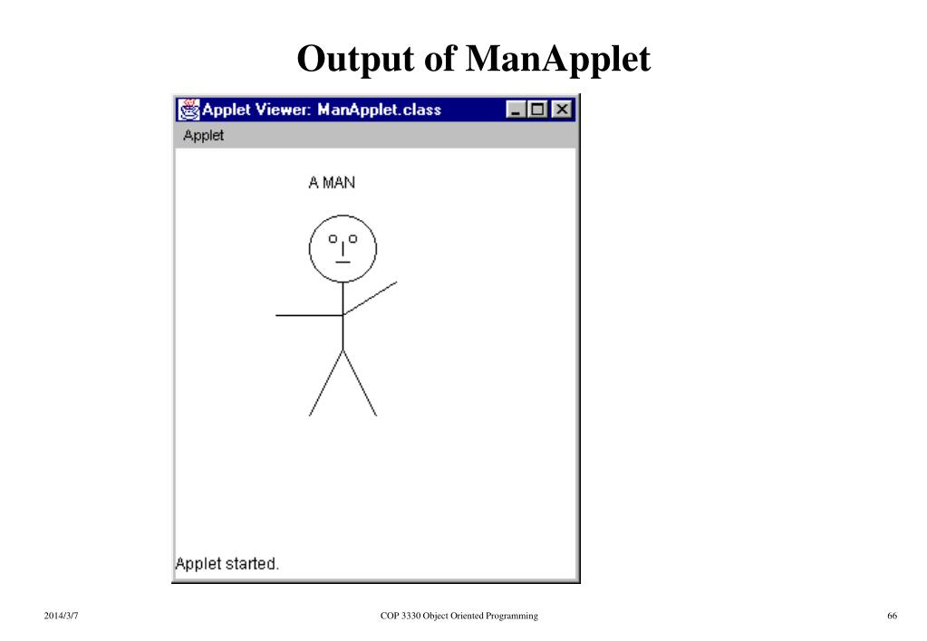 Output of ManApplet