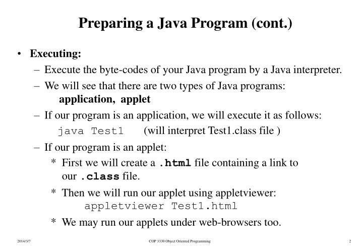 Preparing a java program cont
