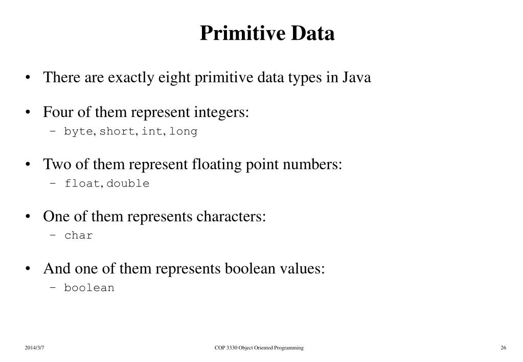 Primitive Data