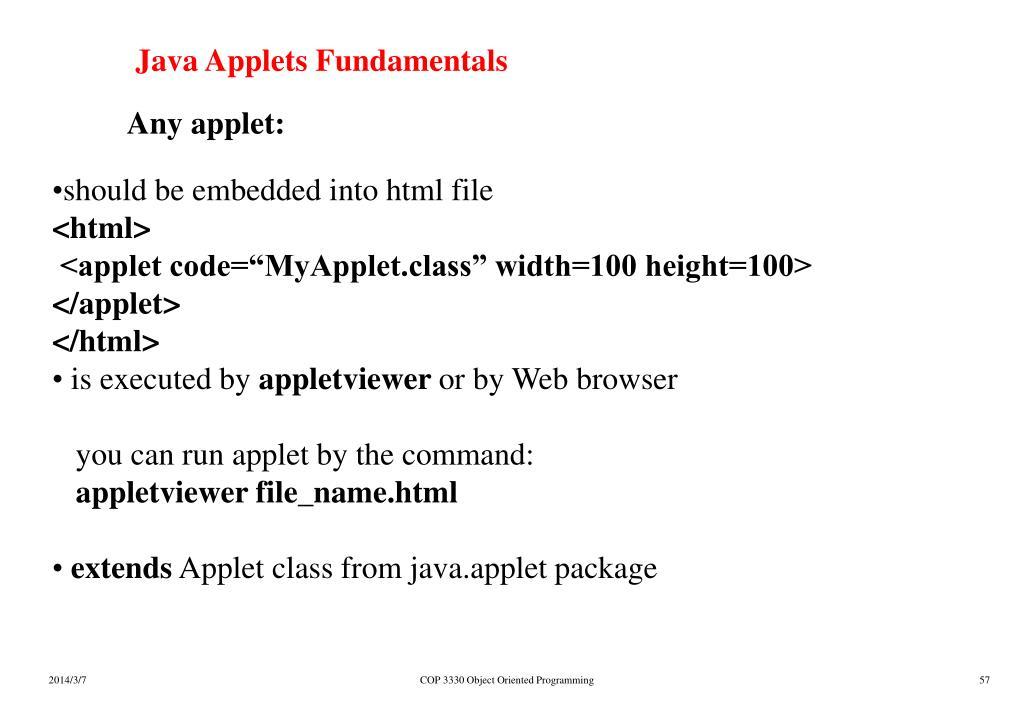 Java Applets Fundamentals