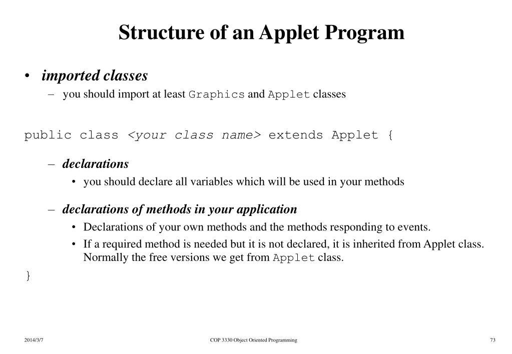 Structure of an Applet Program