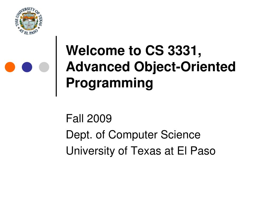 welcome to cs 3331 advanced object oriented programming l.