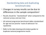 standardising data and duplicating benchmark data