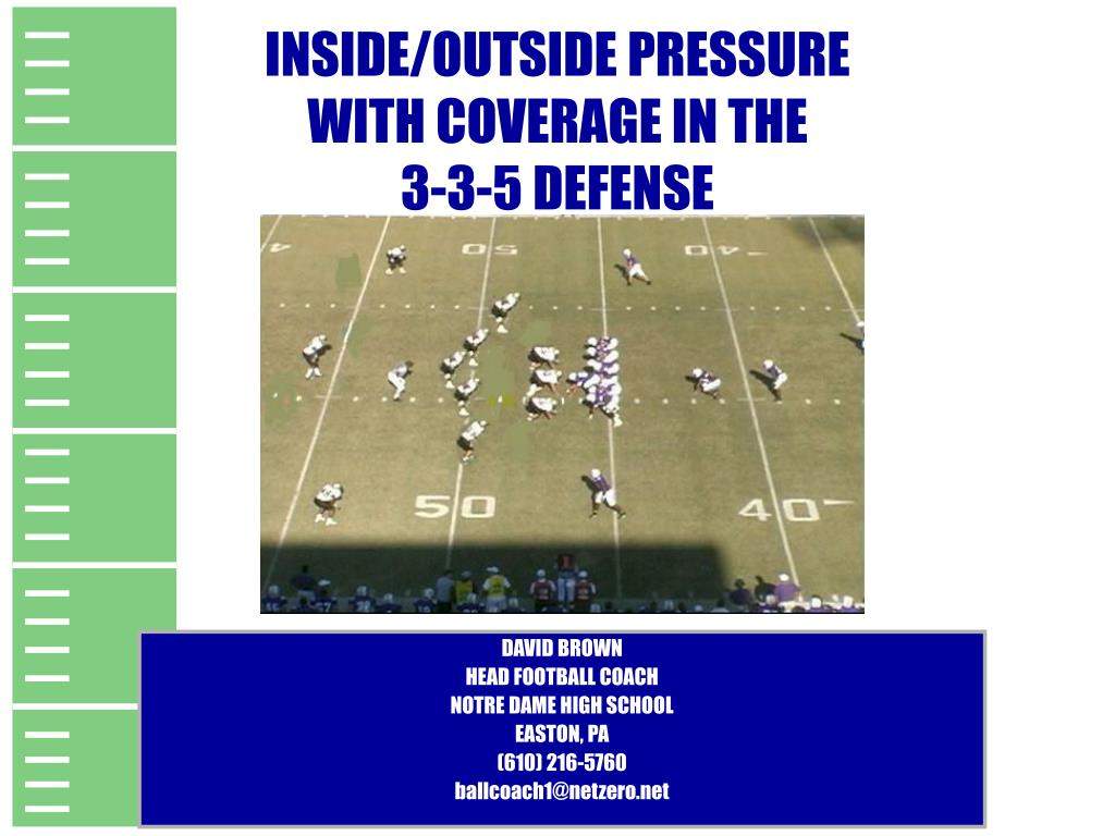 inside outside pressure with coverage in the 3 3 5 defense l.