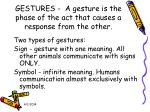 gestures a gesture is the phase of the act that causes a response from the other