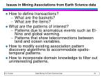 issues in mining associations from earth science data