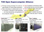 t2k open supercomputer alliance