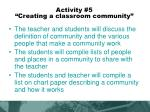activity 5 creating a classroom community