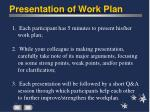 presentation of work plan