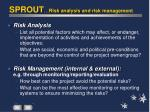 sprout risk analysis and risk management