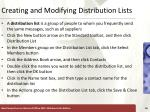 creating and modifying distribution lists