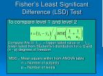 fisher s least significant difference lsd test