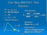 one way anova f test solution