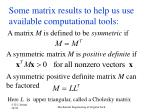 some matrix results to help us use available computational tools