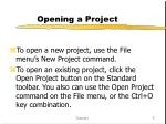 opening a project