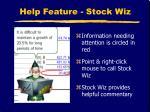 help feature stock wiz