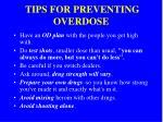 tips for preventing overdose