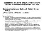 geoscience standing group action groups groups of experts work plans july 2004