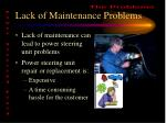 lack of maintenance problems