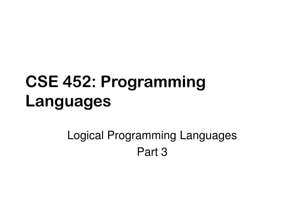 cse 452 programming languages l.
