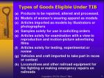 types of goods eligible under tib