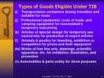 types of goods eligible under tib4