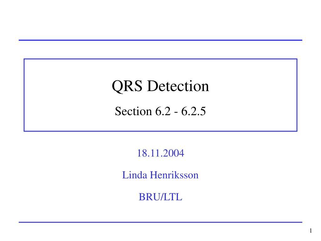 qrs detection section 6 2 6 2 5 l.