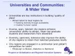 universities and communities a wider view